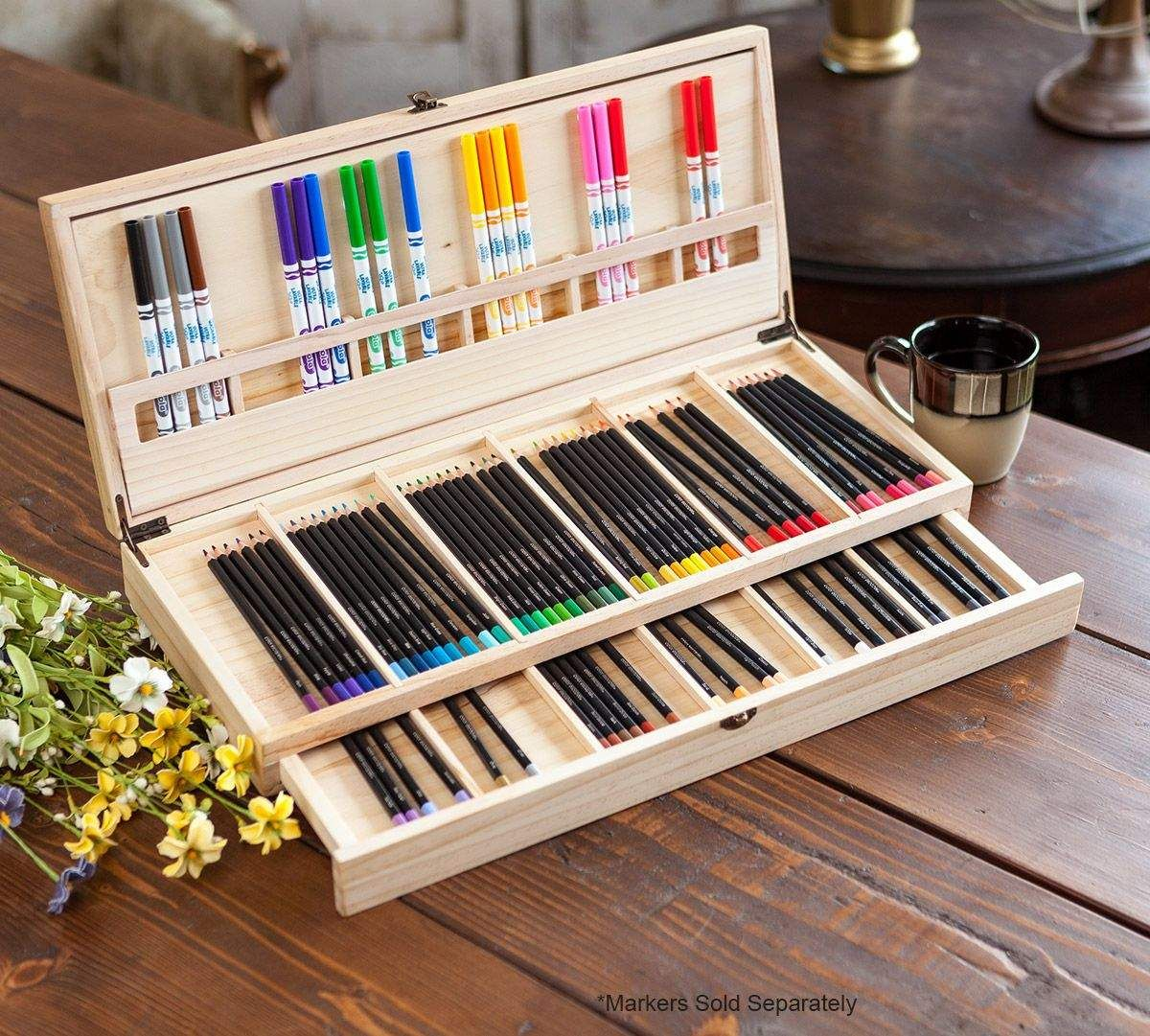 Color escapes wooden art case colored pencil storage