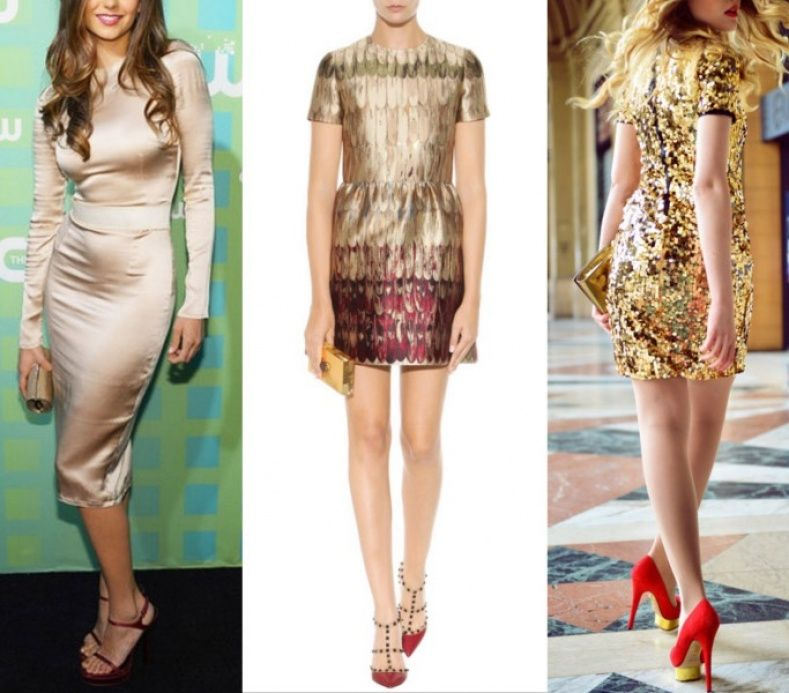 What color shoes with red and gold dress