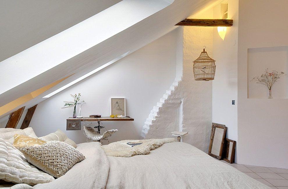 Witte romantische slaapkamer op zolder - zolderkamer ideeën ...