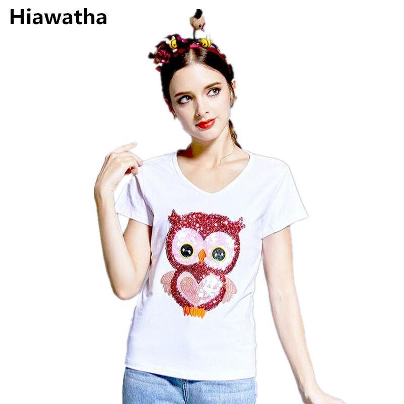 Click to Buy << Hiawatah European High-end Women Tops Fashion Owl. >>