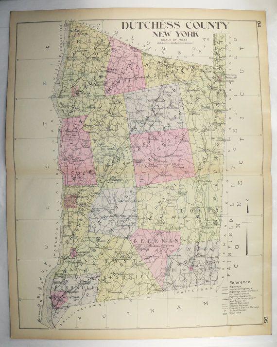 1912 Large Vintage Map Dutchess County NY Map, New York Genealogy ...