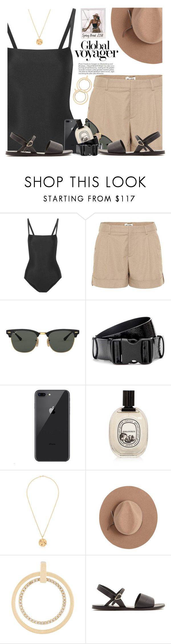 """""""Voyager"""" by hollowpoint-smile ❤ liked on Polyvore featuring Matteau, Yves Saint Laurent, Ray-Ban, Isabel Marant, Diptyque, Holly Ryan, Calypso Private Label, Asherali Knopfer and Ancient Greek Sandals"""