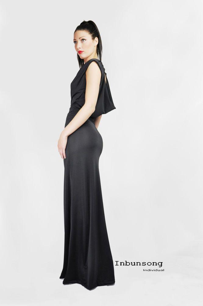 Ladies Inbunsong Jersey Cowl Neck OpenBack Sleeveless BodyCon Maxi Evening Dress