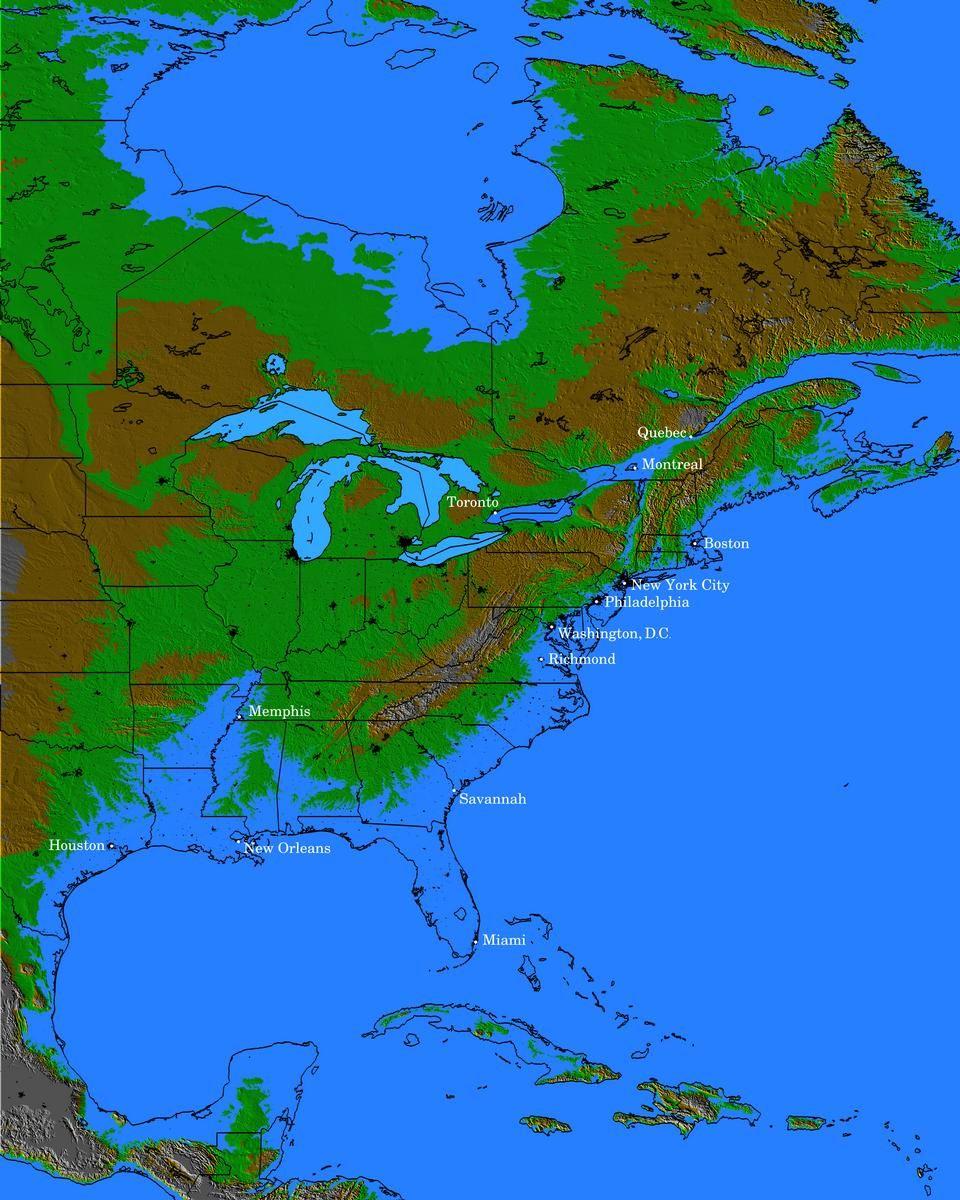 Eastern Seaboard if the sea level rose 100 meters | Flood ...