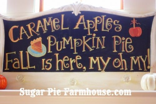 chalkboard sign for fall--I probably won't make this sign ...