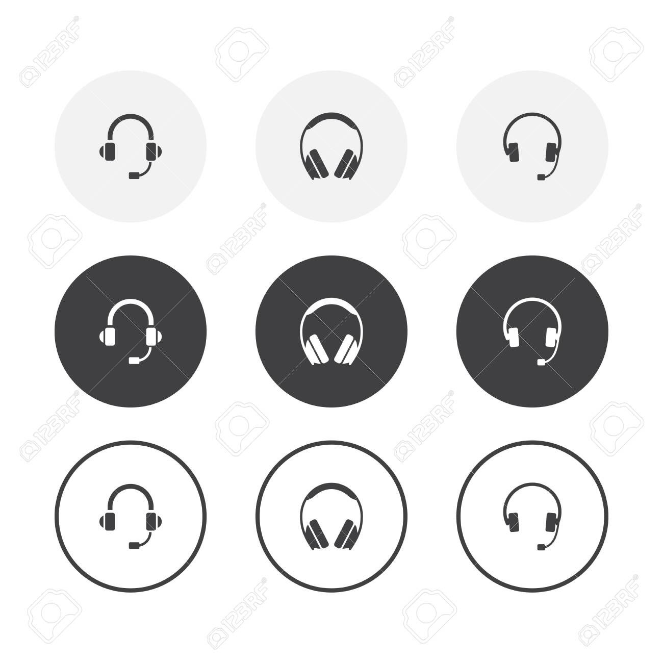 Set Of 3 Simple Design Headphones Icons Rounded Background