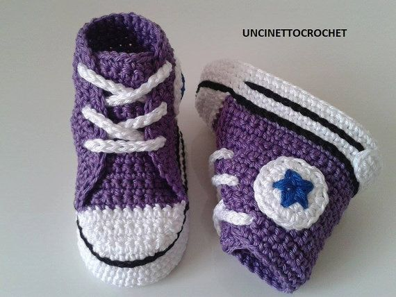 Instant Download This Is A Pattern For Crochet Baby Converse