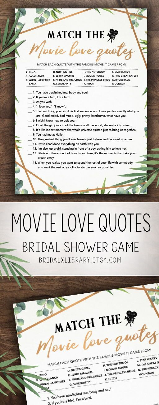 Match the Movie Love Quote, Bridal Shower Games Printables