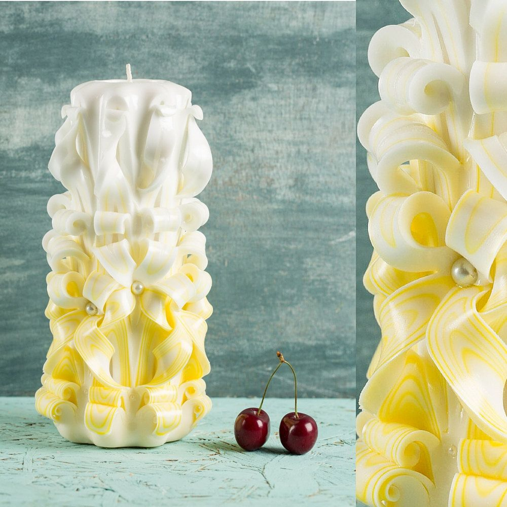Big White Yellow candle, Gift ideas, Wall decor, Wedding decoration ...