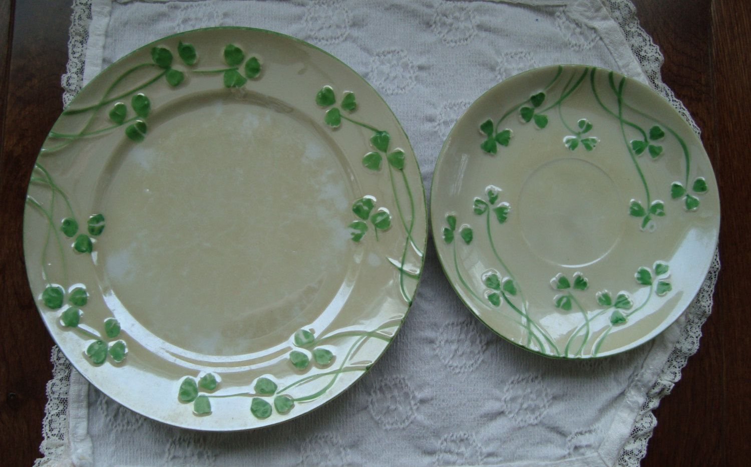 Erins Hand Painted China - Two Vintage Irish Plates Salad Plate and Saucer - Pale & Erins Hand Painted China - Two Vintage Irish Plates: Salad Plate and ...