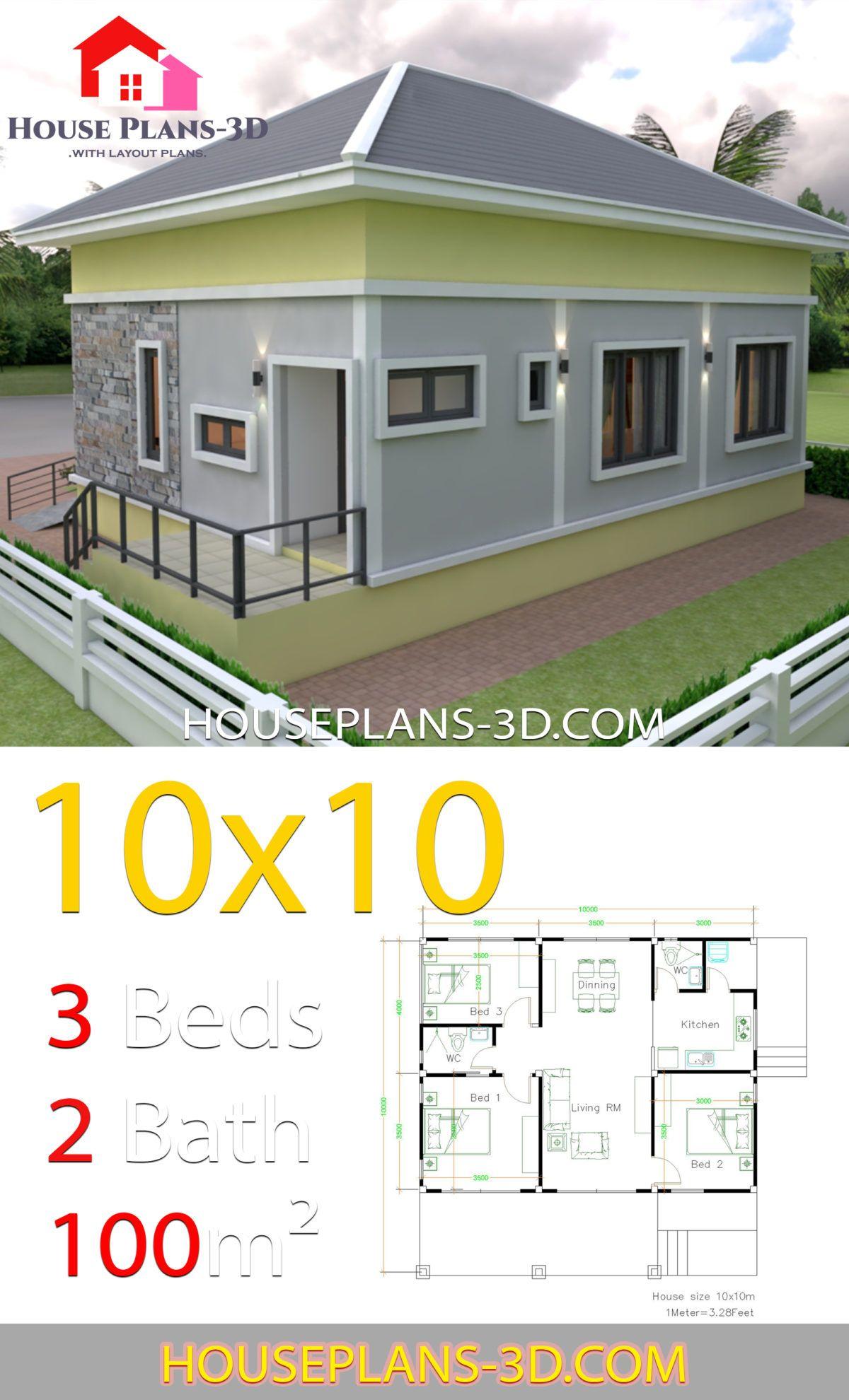 Desain Rumah Autocad 3d : desain, rumah, autocad, House, Design, 10x10, Bedrooms, Plans, Arsitektur, Rumah,, Denah, Desain, Rumah