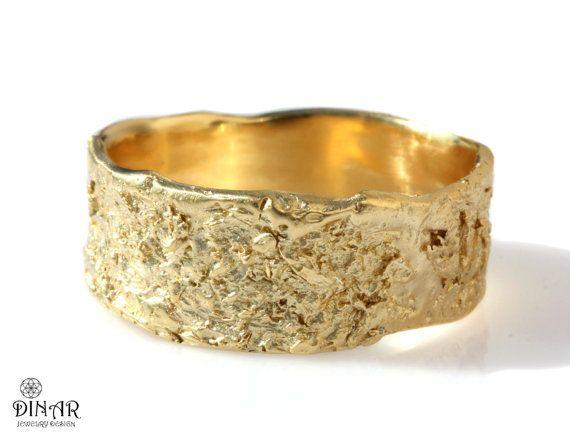Rustic Gold Men Wedding Ring Band Organic Raw Textured Tree Etsy Rustic Wedding Bands 14k Rose Gold Wedding Ring 18k Wedding Band