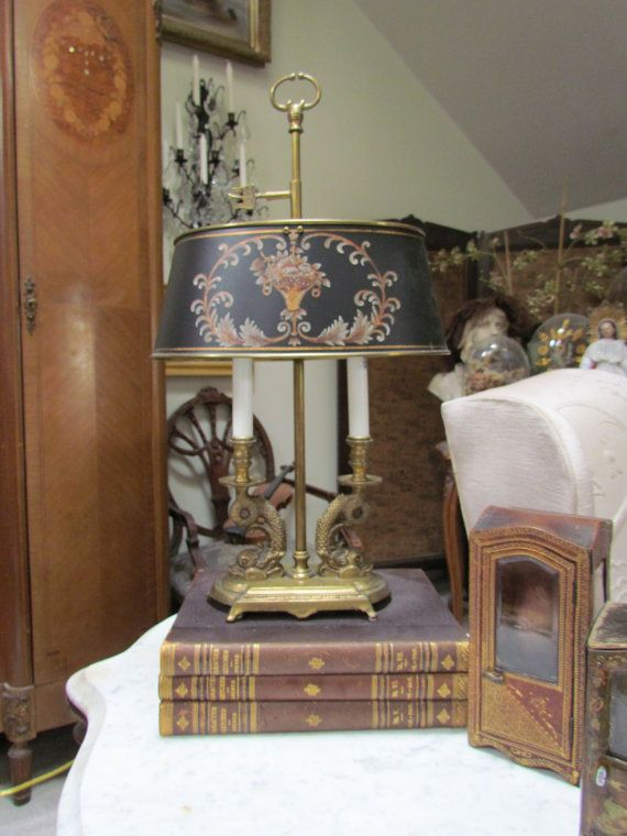French Style Brass Bouillotte Lamp With Dolphin Base And Tole Etsy Lamp French Empire Chandelier Tole