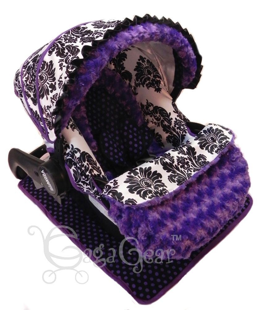 CUTIE OWLS//MINKY INFANT CAR SEAT SLIP COVER Graco fit-custom sizes available