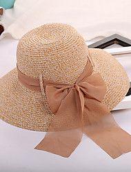 Feminino Casual Chapéus Palha Verão De Palha Chapéu de sol 701ce22238b