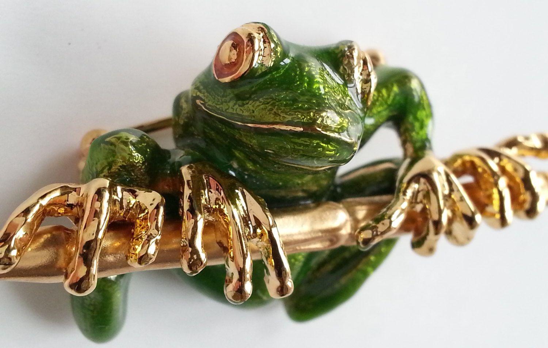 KJL Tree Frog Brooch, Green Enamel Rainforest Pin,