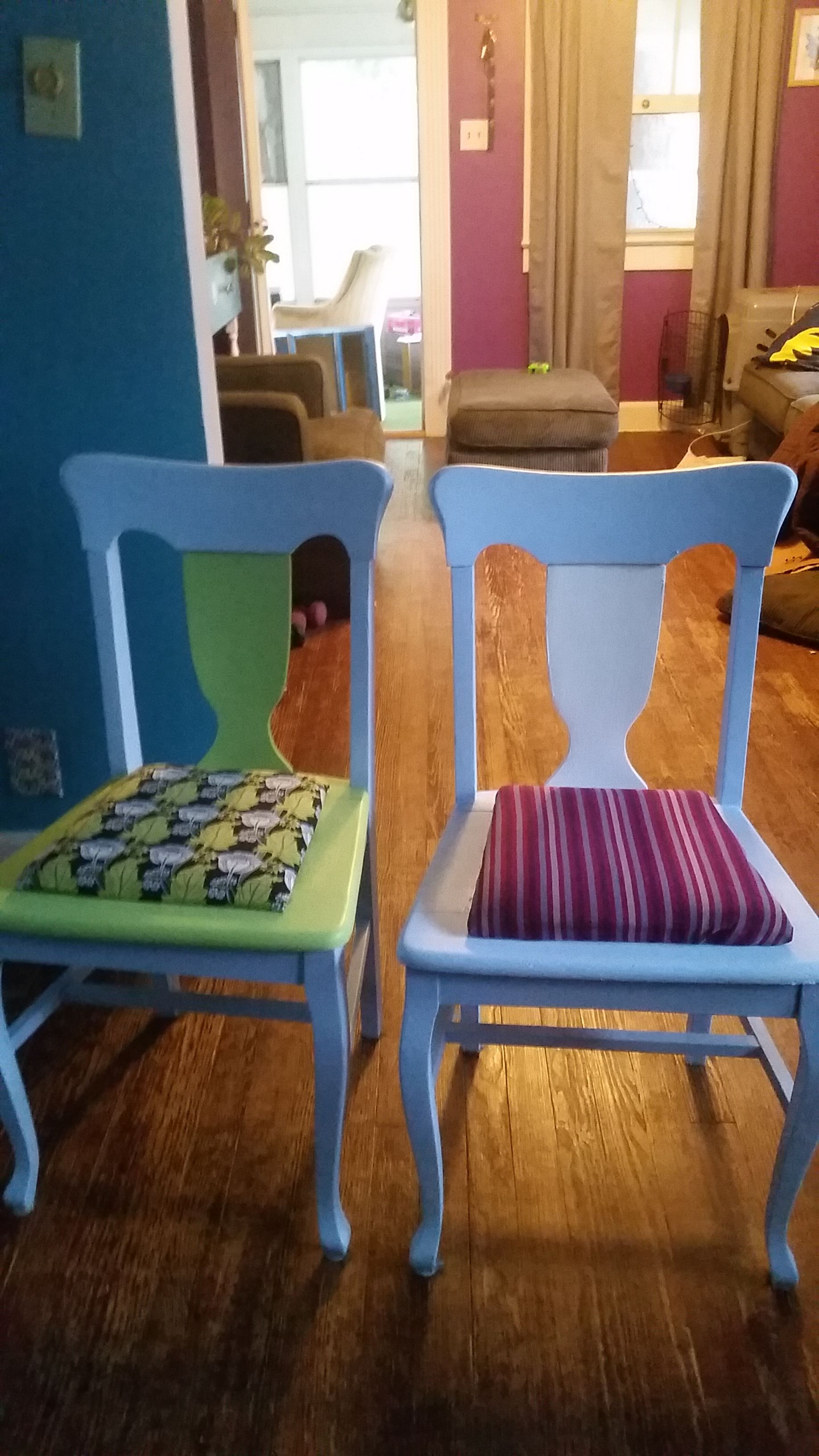 Pleasing Revamped Light Blue Dining Room Chairs In Shydogs Garage Home Interior And Landscaping Ologienasavecom