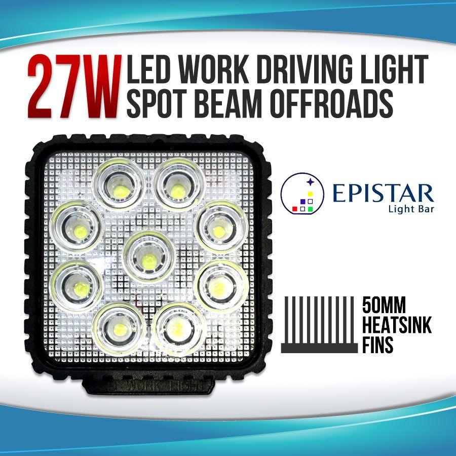 27w 4 led spot beam driving worklight 12v 24v square