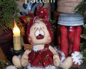 "Patti/'s Ratties Primitive Christmas Present Snowman 5/"" Doll Paper Pattern 672"
