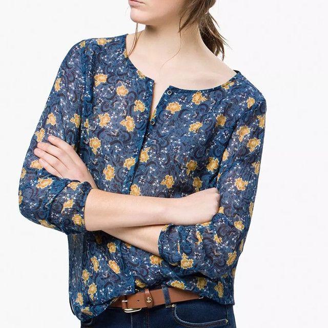 Barato Mulheres manga comprida Irregular Hem Floral Blusa de impressão de…