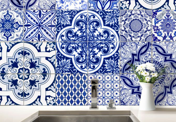 Fliesenaufkleber Portugiesische Kacheln 12er Set Wall Art De Carreaux Portugais Sticker Carrelage Deco Chambre Vintage