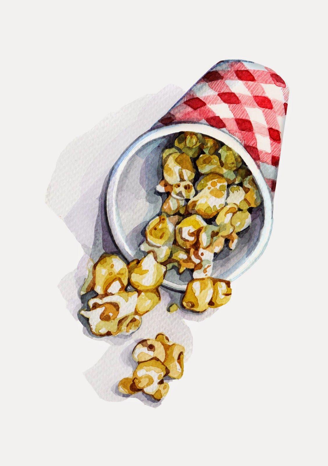 tiny snack small still life desert Original acrylic 6x8/' popcorn painting food realism kitchen miniature pop corn realistic artwork