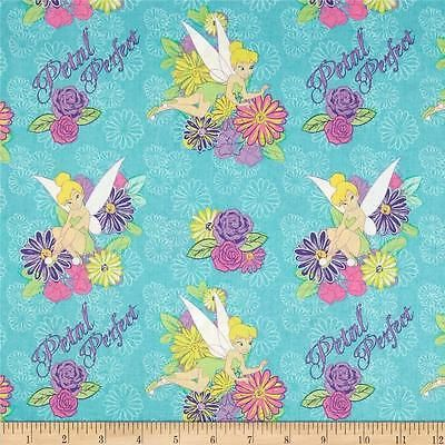 TINKERBELL FABRIC TEAL PETAL PERFECT CAMEO new TINKERBELL FABRIC BTY NEW