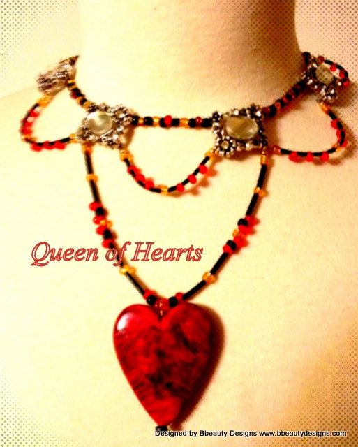 Queen of Hearts Inspired Heart Necklace Choker in by Bbeauty79, $65.00