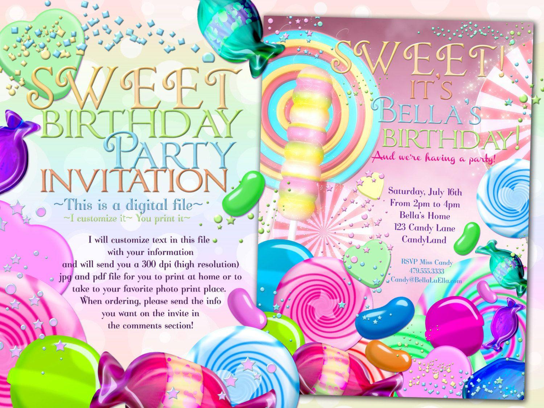 Candy Land Birthday Party Invitation, Birthday Party Invitations ...