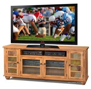 Sedona 73 Television Console In Rustic Medium Oak Finish With Slate