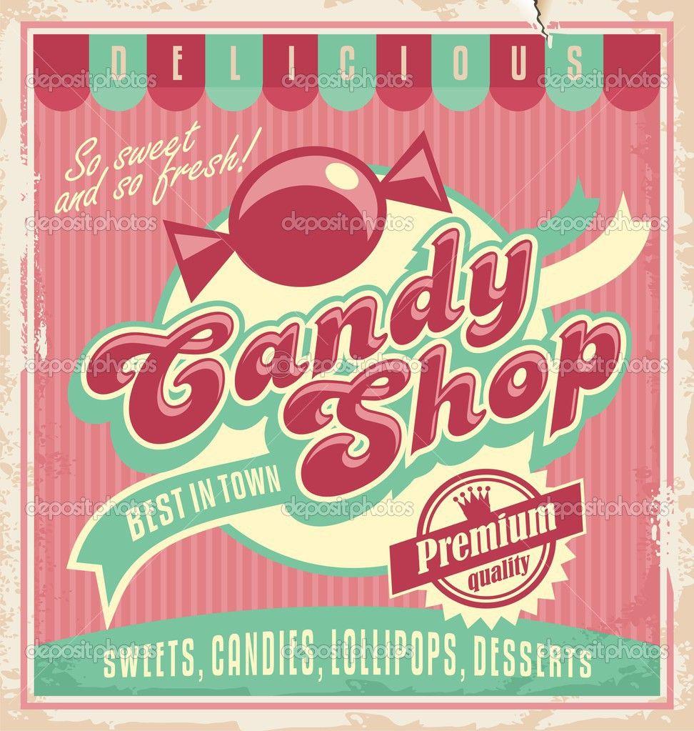 Plantilla cartel vintage para tienda de golosinas — Ilustración de ...