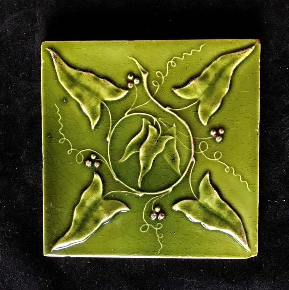 Anitque Us Encaustic Art Nouveau 6 Pottery Tile With Green Ivy Made In Indianapolis Indiana Late 1800s Signs O Encaustic Art Art Nouveau Tiles Art Nouveau
