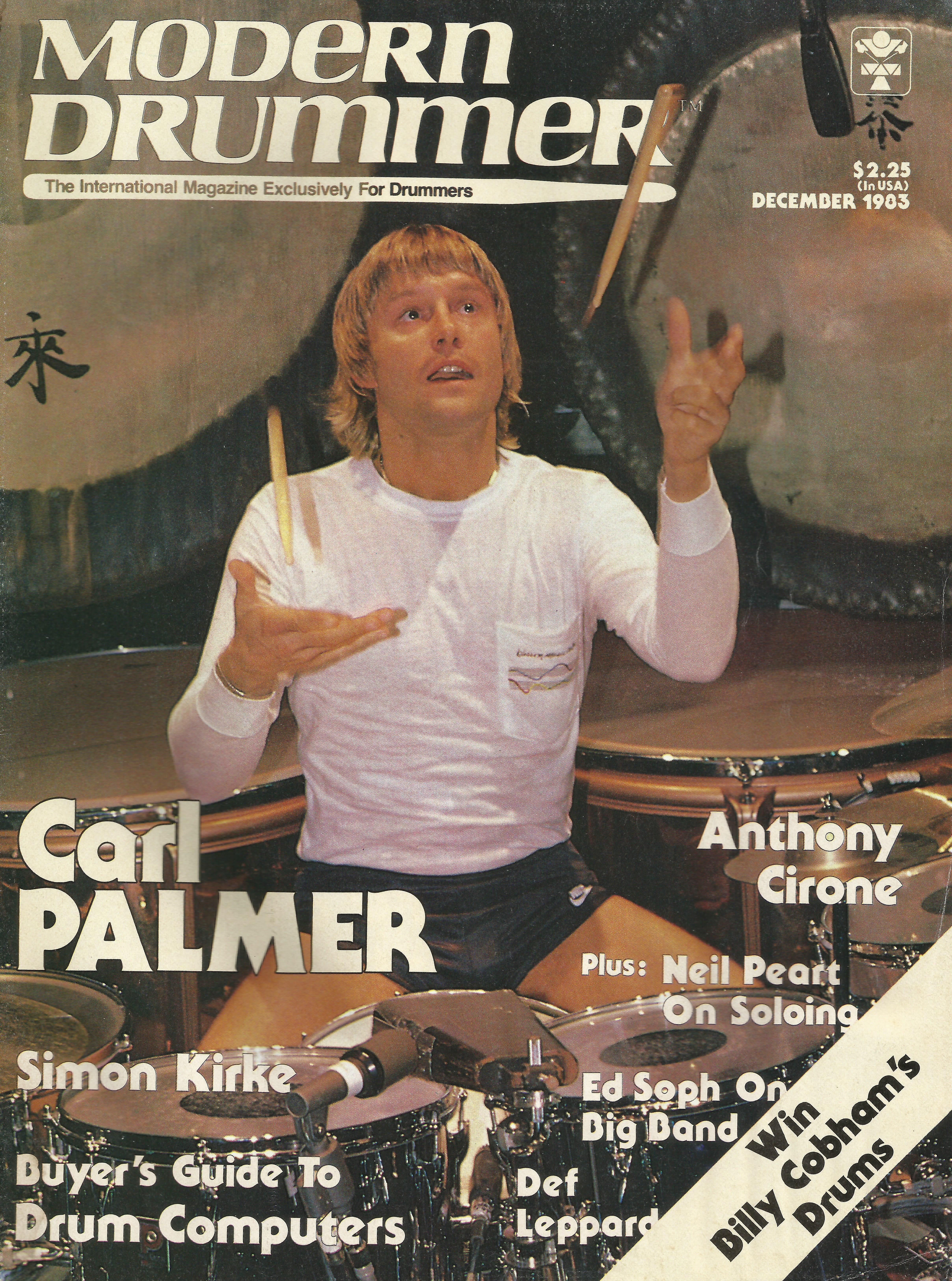Carl Palmer Modern Drummer Magazine December 1983 Emerson Lake Palmer Modern Drummer Greg Lake