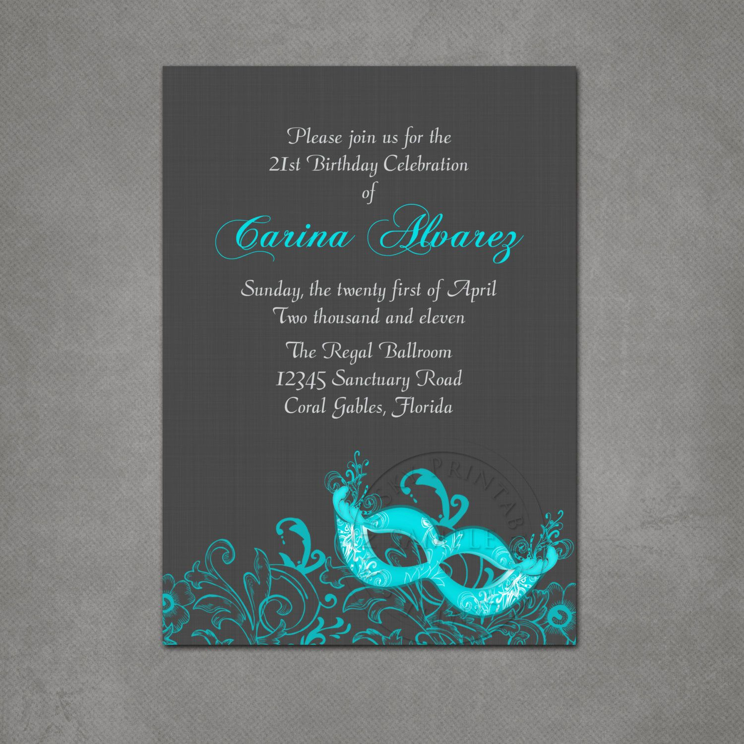 Masquerade Ball Birthday Party Invitation Printable file. $12.00 ...