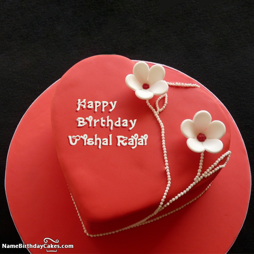 Famous Red Velvet Cake For Happy Birthday Wishes With Name Vishal