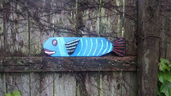 Cute Large Blue Folk Art Fish Colorful Nautical by MySalvagedPast