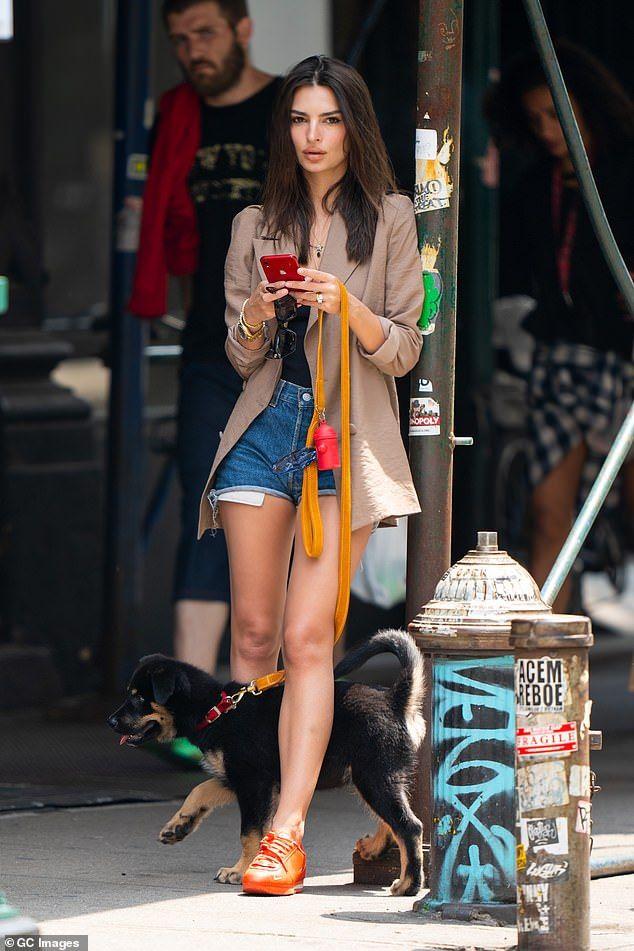 Emily Ratajkowski's dog mom style is low-key glam for walks with puppy