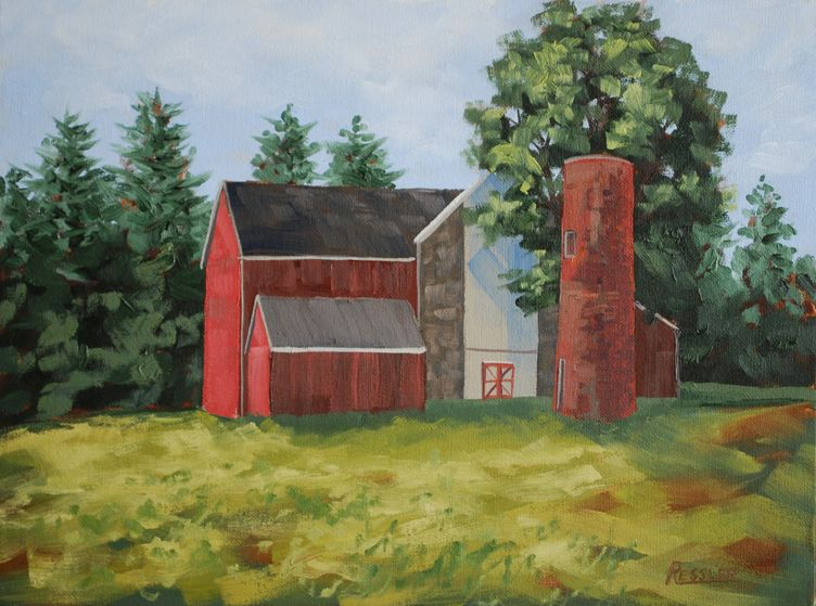"""Red Brick Silo,"" original oil painting, 12x16, Available at Rich Timmons Studio & Gallery, 3795gallery.com"