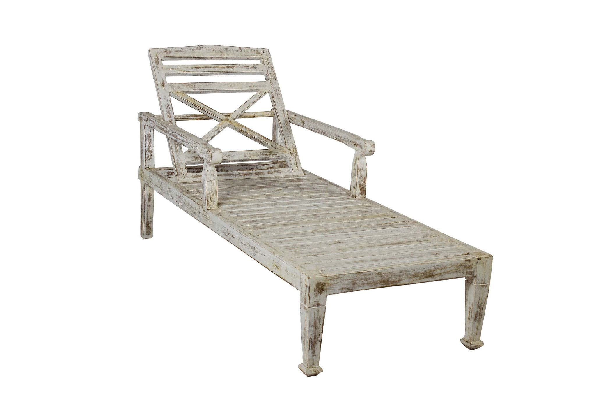 Solid Teak Wood Beach Chaise Lounge Chair Faded White