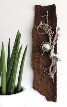 He42 baumrinde als wanddeko nat rlich dekoriert mit for Wanddeko herbst