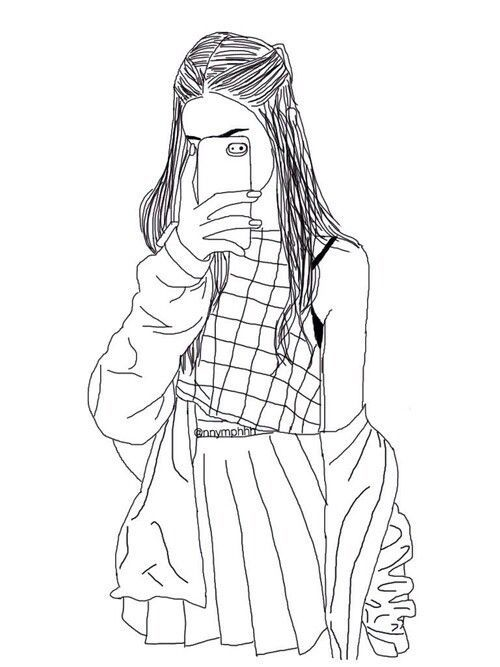 Hipster Girl Drawing Outline