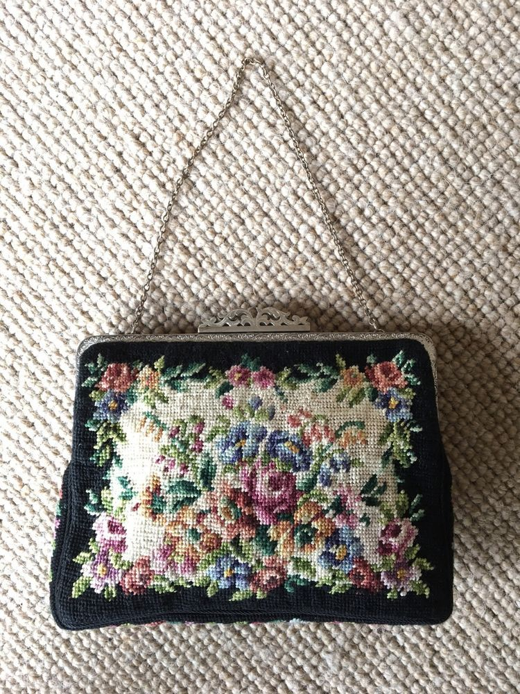 Vintage 1920/30's Foral Petit Point Bag, Silver Clasp & Frame