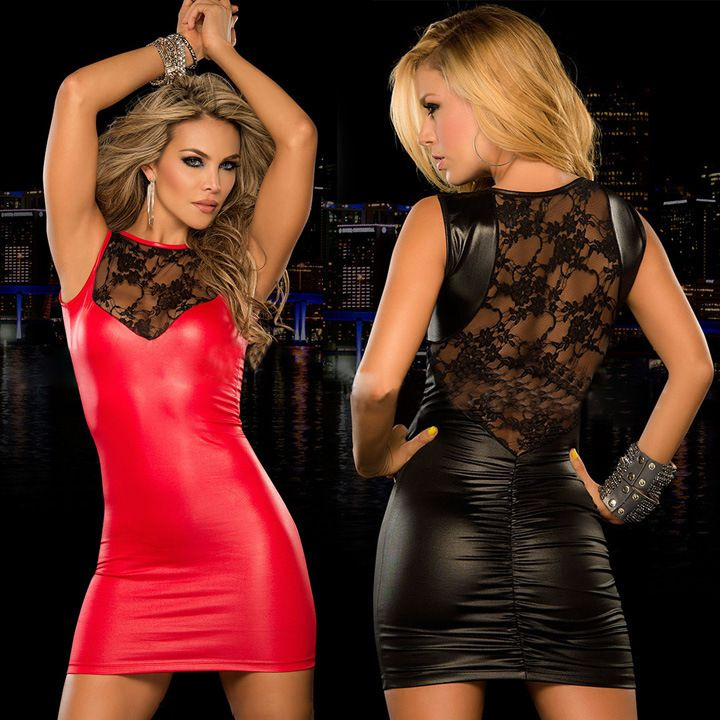 88c94ac81d Lady Fake Leather dress mini dress Women sexy Lace dress slim fitted ...