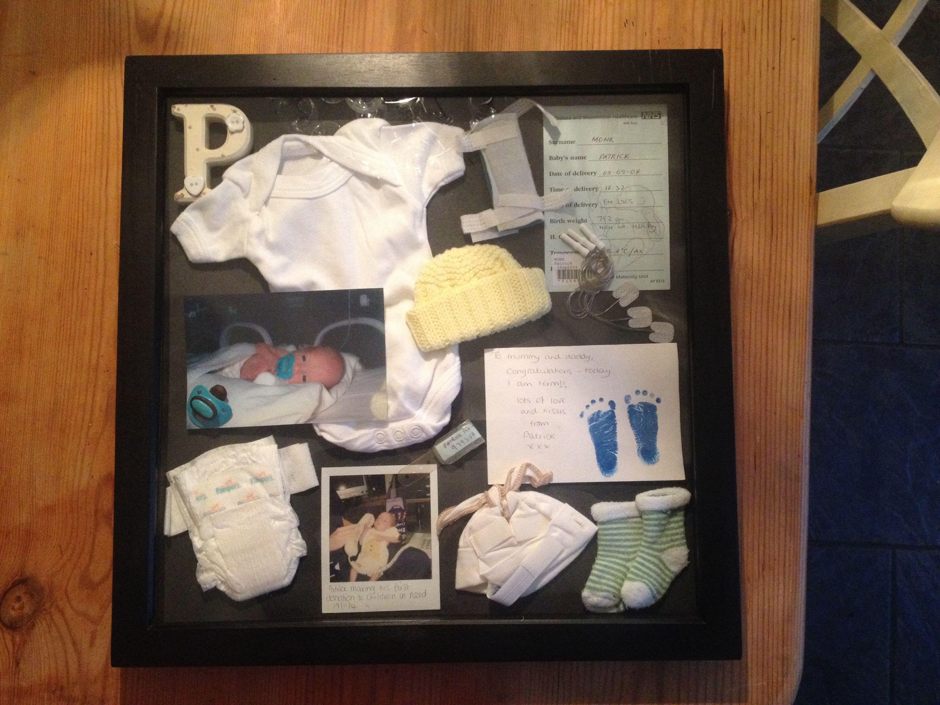 Memory box frame full of memorabilia from my son\'s time spent in the ...