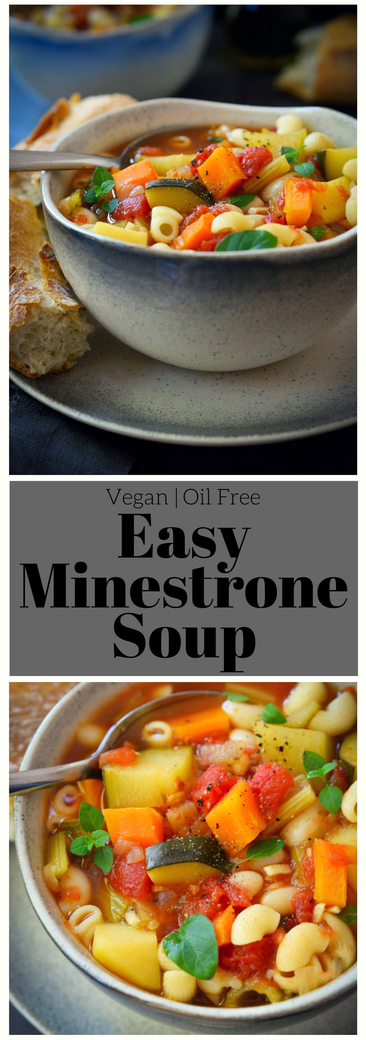 This vegan minestrone soup is made with veggies, white beans and pasta simmered in a flavourful, herby tomato broth. Easy to make and totally adaptable to your favourite seasonal veggies, this hearty and healthy soup is a satisfying meal year round!
