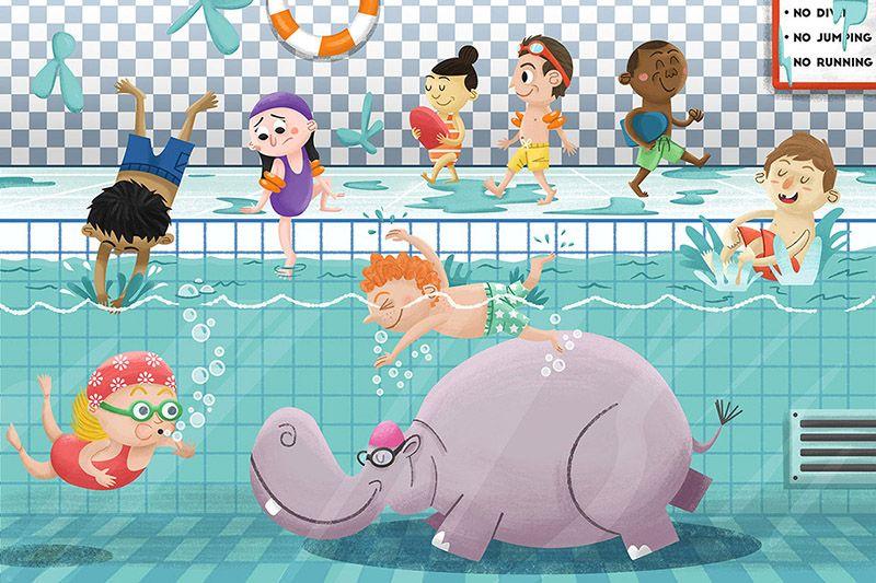 Swim Class Illustration Art Design Swimming Class Swim Kids Hippo Learning Pool Characterdesi Swimming Classes Kids Doodles Book Illustration Design