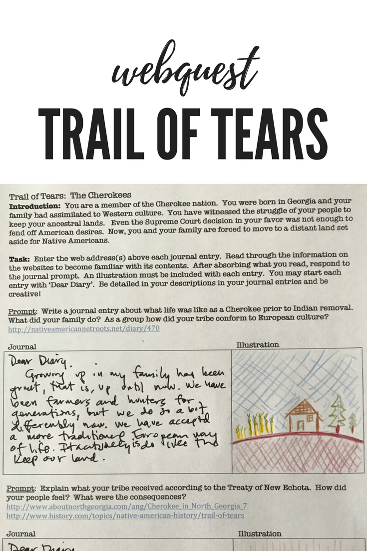 Worksheets Trail Of Tears Worksheet trail of tears a webquest journal activity history classroom students read about the experience on tears