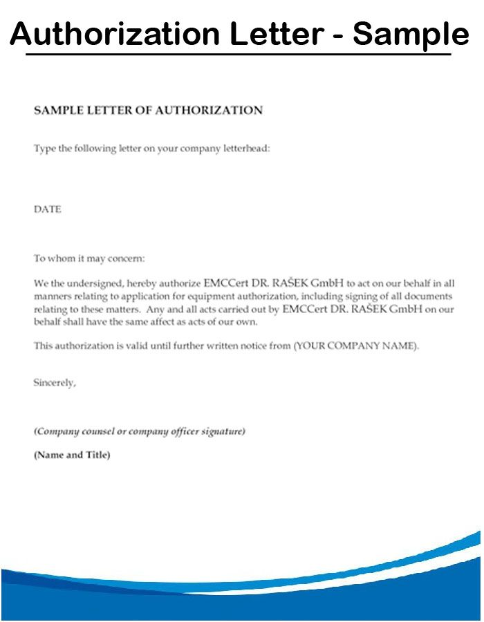 Authorization Letter Sample Format Permission Letterto