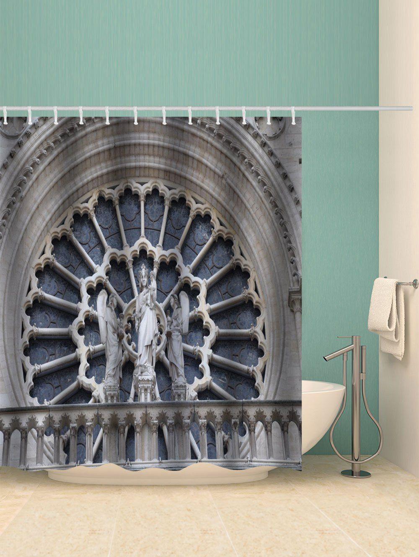 Notre Dame Buildings Print Waterproof Bathroom Shower Curtain Ad