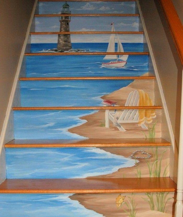 Idee Peinture Escalier Bois Originale, Inspirée De La Beauté Des Paysages  Nautiques,